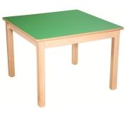 HPL-Tischplatte, Gestell und Beine in Buche