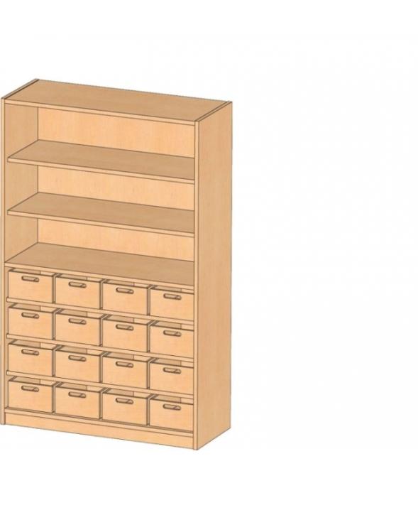 Korpusschrank mit Materialkästen mit oder ohne Sichtkästen, B/H/T 102 x 160 x 40 cm