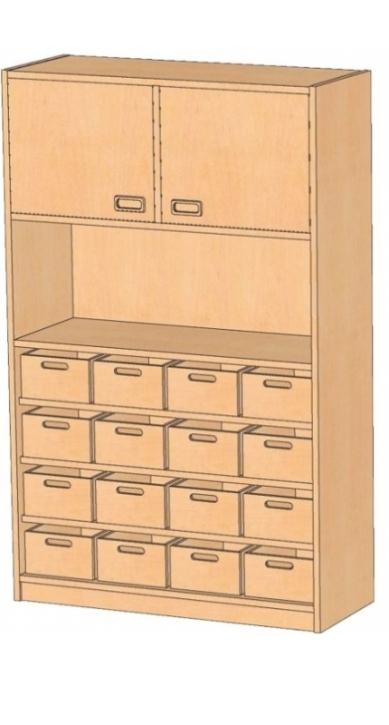 Korpusschrank mit Materialkästen mit oder ohne Sichtfenster, B/H/T 102 x 160 x 40 cm