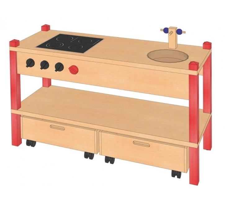 Spielküche inkl. Rollkästen, B/H/T: 106 x 60 x 40 cm