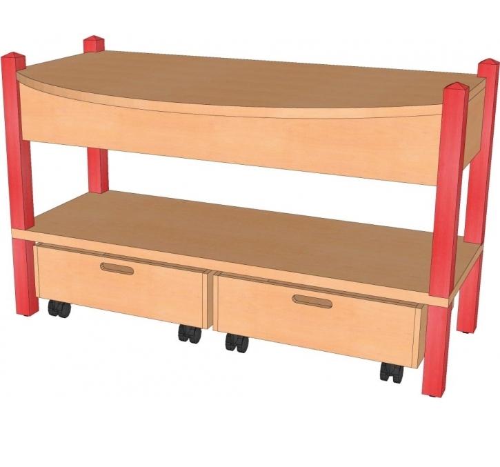 Spieltisch inkl. Rollkästen, B/H/T: 106 x 60 x 40 cm