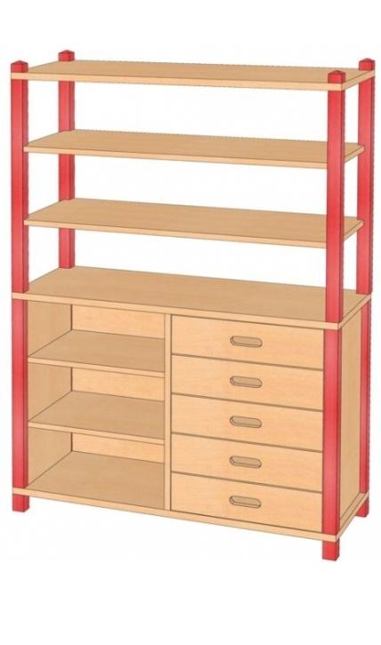 Stollenschrank mit Massivholzschüben, B/H/T 106 x 160 x 40 cm