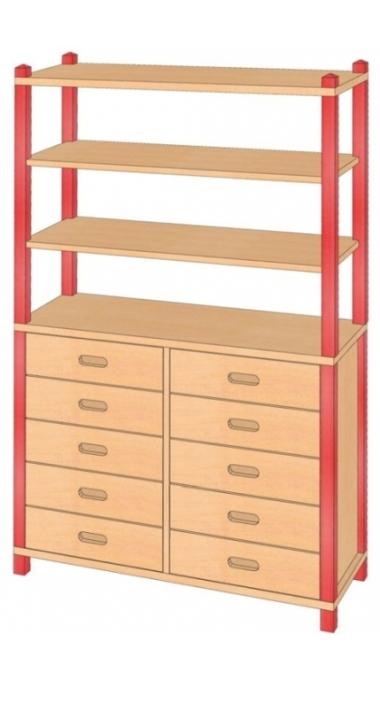Stollenschrank mit Massivholzschüben, B/H/T 106 x 180 x 40 cm
