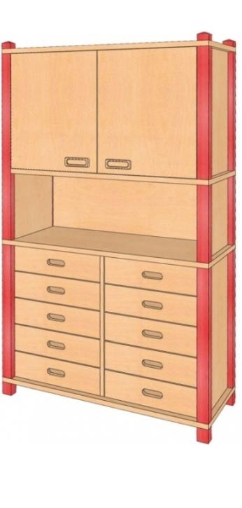 Stollenschrank mit Oberschrank, B/H/T 106 x 180 x 40 cm