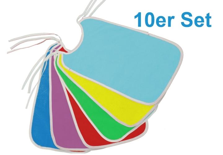 10er-Sparset Frottee-Lätzchen EXTRA-LANG, Bänderverschluss, 30 x 50 cm (Farbe wählen)