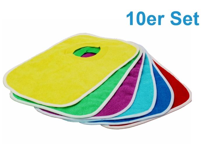 10er-Sparset Frottee-Lätzchen mit Schlupf, 30 x 35 cm (Farbe wählen)