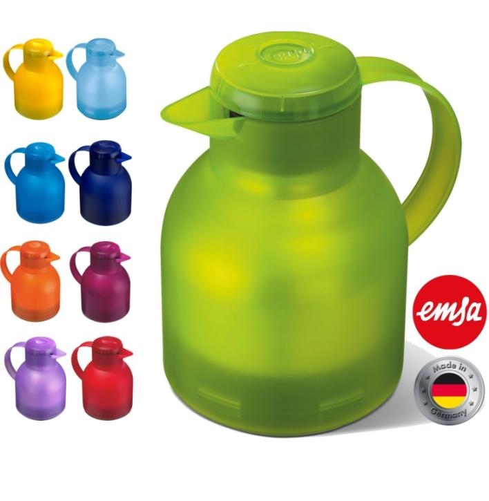 Isolierkanne 1,00 Liter, Glaseinsatz, Polypropylen, öffnen per Knopfdruck (Farbe wählen)