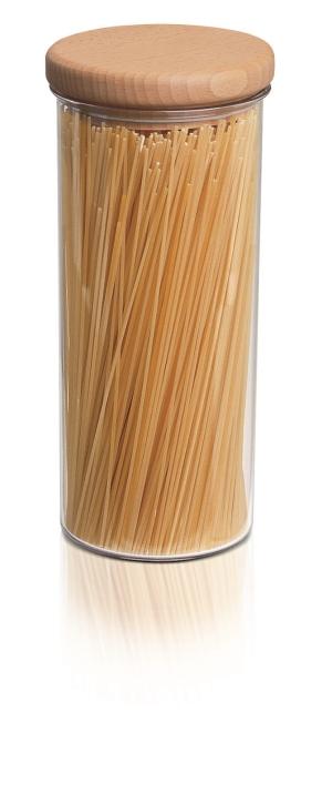 Abverkauf:  Scandic von EMSA - Vorratsdose mit Holzdeckel, rund, 1,5 Liter, transp. / buche