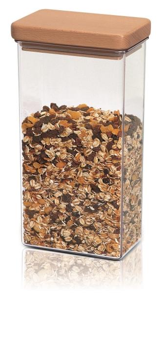 Abverkauf:  Scandic von EMSA - Vorratsdose mit Holzdeckel, eckig, 1,5 Liter, transp. / buche