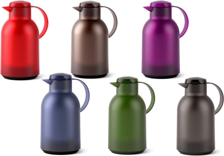 Isolierkanne 1,5 Liter, Glaseinsatz, Polypropylen, öffnen per Knopfdruck (Farbe wählen)