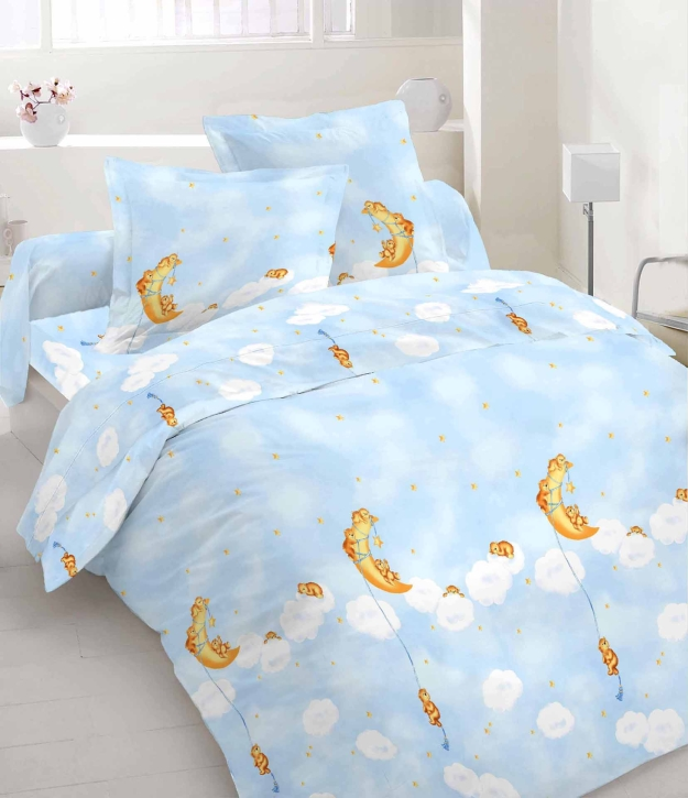 """Abverkauf: Bettwäsche """"Mondbär blau"""", 100 % Baumwolle, 40×40 + 75×100 cm, Hotelverschluss"""