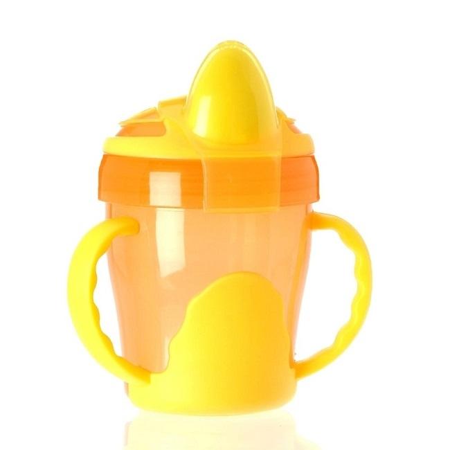 Abverkauf: 2-Henkel-Griff-Trinklerntasse, auslaufsicher, 200 ml, Farbe Orange-Gelb