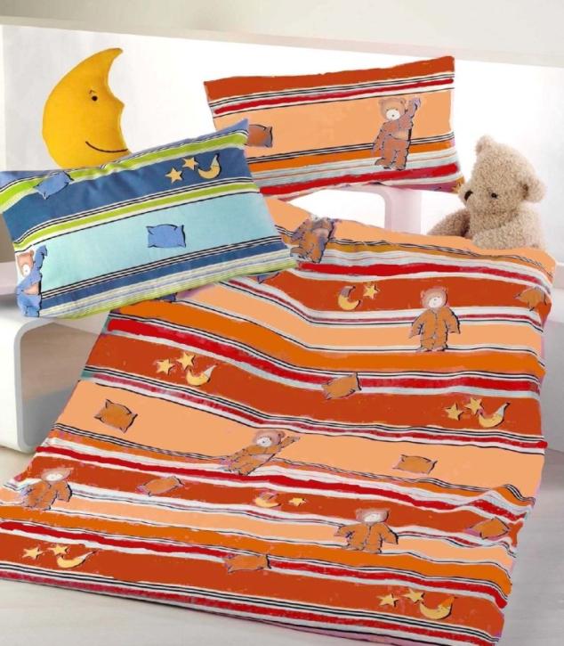 """Biber-Bettwäsche """"Pyjamabär orange"""", 100 % Biber-Baumwolle, Garnitur 40x60 + 100x135 cm, Knopfleiste"""