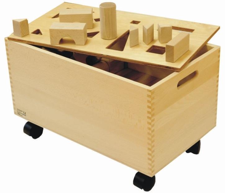 """Bausteinwagen mit """"Puzzle-Deckel"""", 56 x 33 x H 27 cm"""