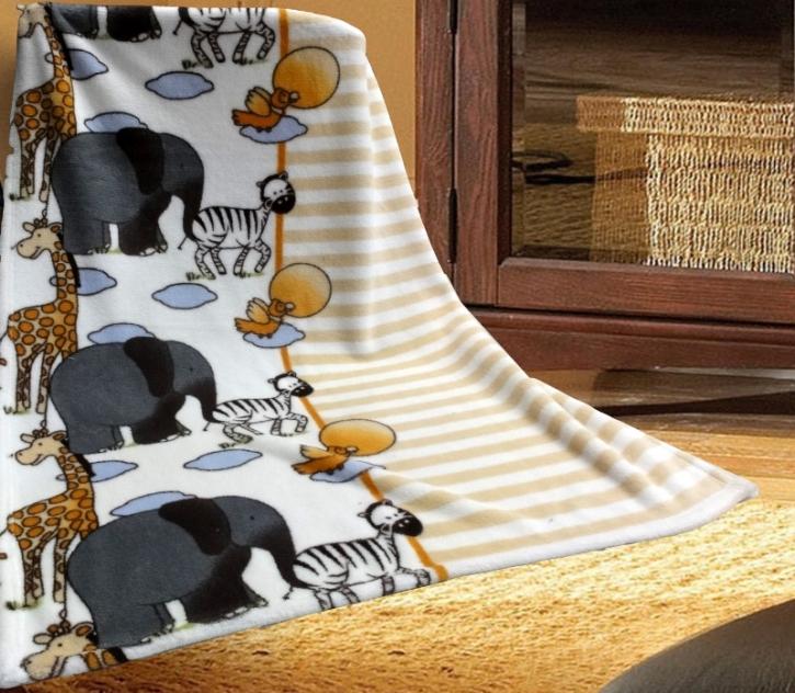 "Kuscheldecke, 75 x 100 cm, trocknergeeignet, Motiv ""Giraffe, Elefant & Zebra"""