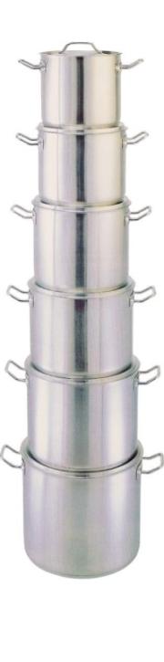 Suppentopf mit Deckel, mittelschwere Qualität, NICHT induktionsggeignet (6 - 20 Liter)