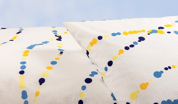 """Bettwäsche aus bügelfreiem Seersucker, """"Punkte blau-gelb"""" (Ausführung wählen)"""