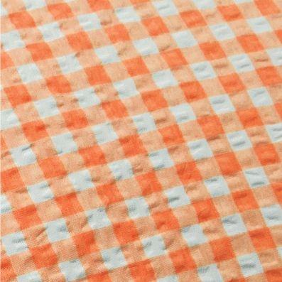 """Bettwäsche aus bügelfreiem Seersucker, """"Karo orange"""" (Ausführung wählen)"""