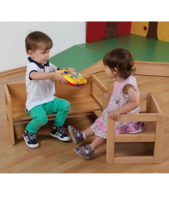 Verwandlungs-Stuhl und -Bank, Sitzhöhen 15, 22 und 34 cm, mit Tischfunktion