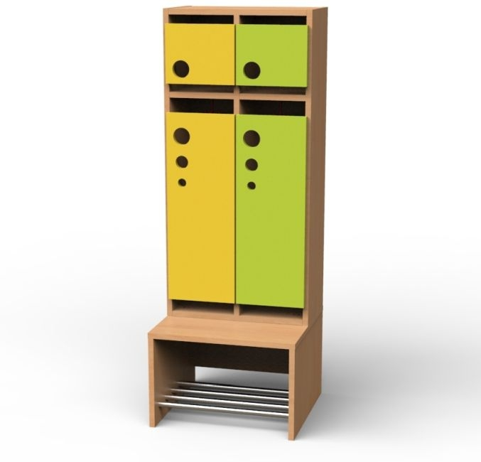 Seifenblasen-Garderobe mit feststehender Bank, 2 Abteile, Breite 51,4 cm