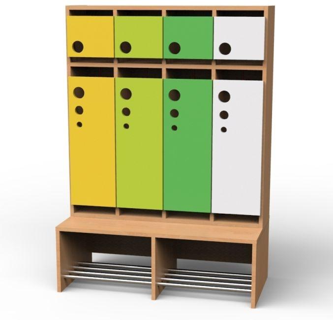 Seifenblasen-Garderobe mit feststehender Bank, 4 Abteile, Breite 100,8 cm