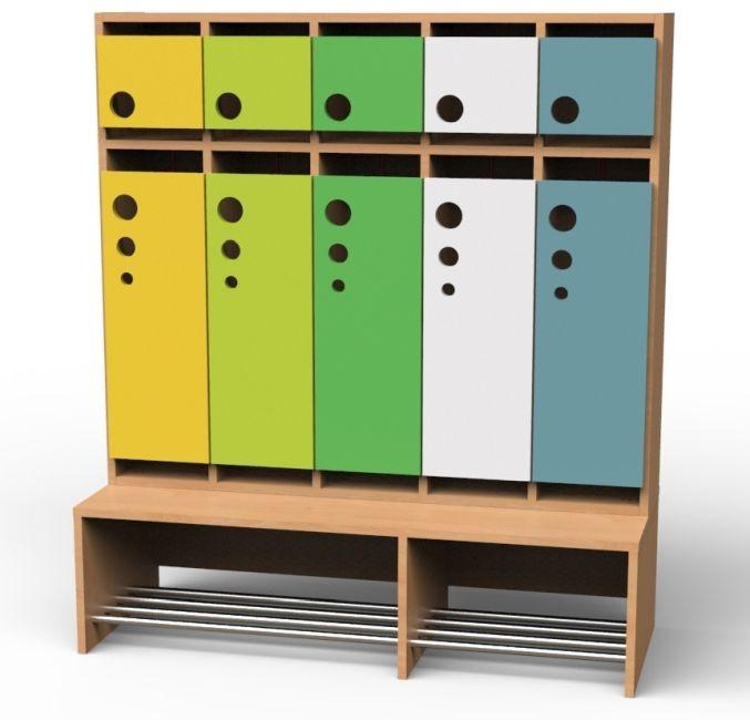 Seifenblasen-Garderobe mit feststehender Bank, 5 Abteile, Breite 125,5 cm