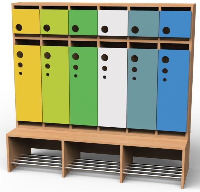 Seifenblasen-Garderobe mit feststehender Bank, 6 Abteile, Breite 150,2 cm
