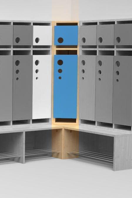 Eckelement für Seifenblasen-Garderobe mit feststehender Bank, B/T 50×50 cm