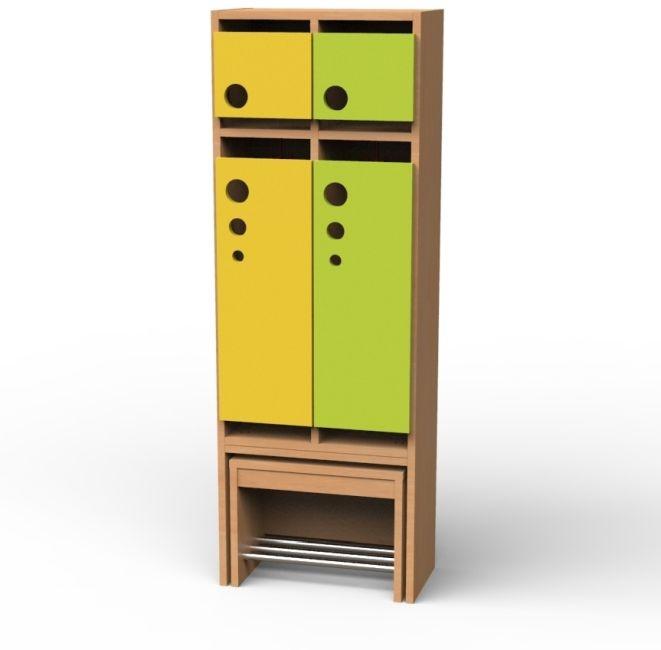 Seifenblasen-Garderobe mit ausziehbarer Bank, 2 Abteile, Breite 51,4 cm