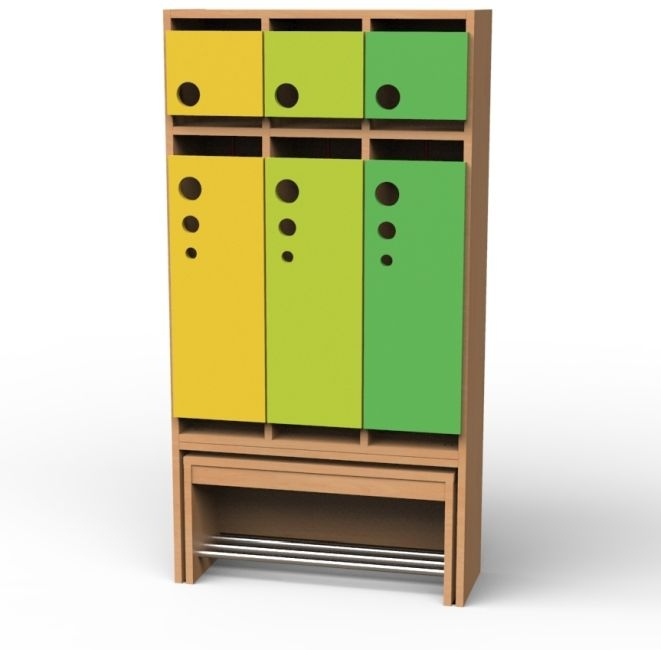 Seifenblasen-Garderobe mit ausziehbarer Bank, 3 Abteile, Breite 76,1 cm