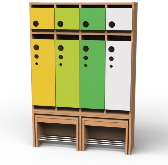 Seifenblasen-Garderobe mit ausziehbarer Bank, 4 Abteile, Breite 100,8 cm