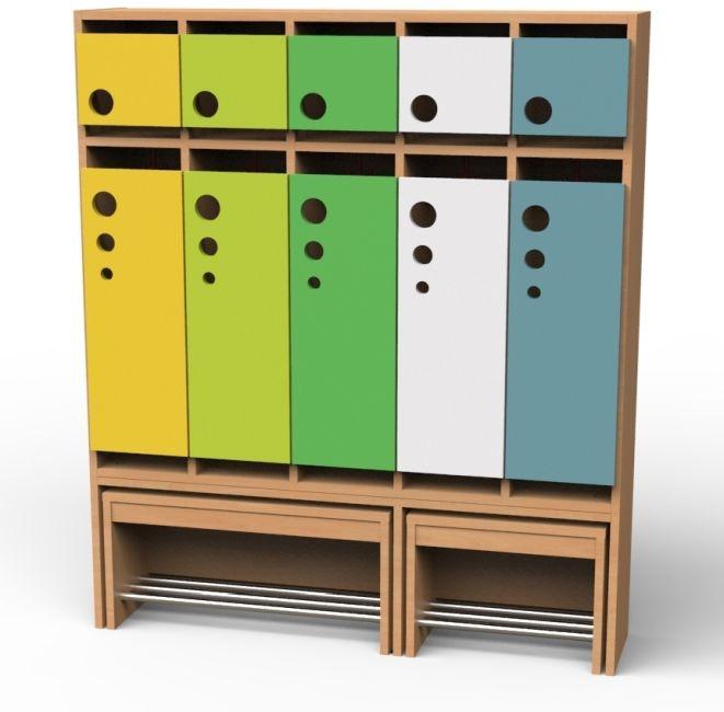 Seifenblasen-Garderobe mit ausziehbarer Bank, 5 Abteile, Breite 125,5 cm