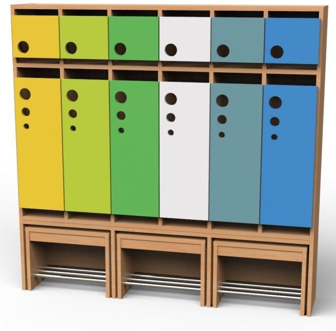 Seifenblasen-Garderobe mit ausziehbarer Bank, 6 Abteile, Breite 150,2 cm