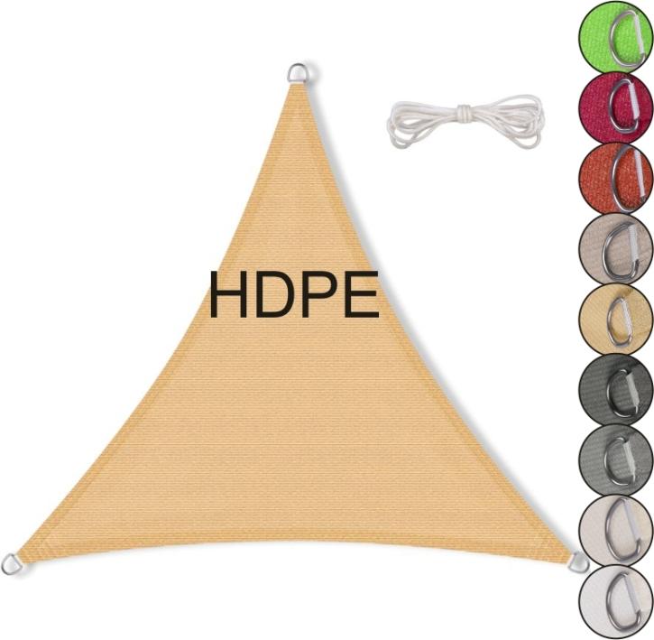 Sonnensegel gleichseitiges Dreieck, HDPE (Größe und Farbe wählen)