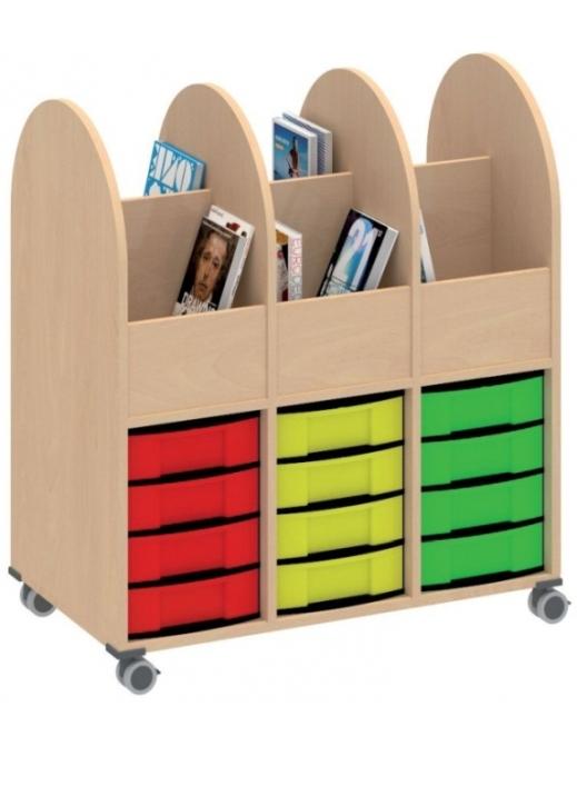 Bücherwagen 3-reihig, B/H/T: 98,2×111×55 cm
