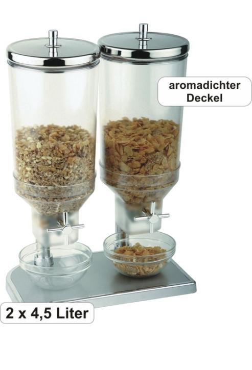 Profi-Cerealienspender - 2 Behälter mit je 4,5 Liter Inhalt, 22×35,0×Höhe 52 cm