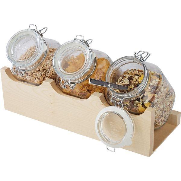 Buffet-Ständer inkl. 3 Stück Gläser à 2,0 Liter, B/T/H: 43×17×28 cm