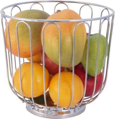 Früchtekorb Ø 21,5 × Höhe 20 cm, Edelstahl 18/10, hochglanzpoliert, schwere Qualität