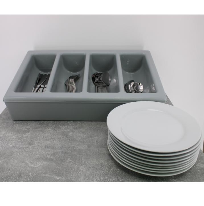 Besteckkasten mit 4 Mulden und Unterbau, grauer Kunststoff, 53 x 32,5 cm (=GN 1/1), Höhe 10 cm