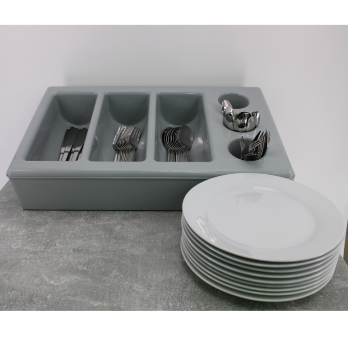 Besteckkasten mit 6 Mulden und Unterbau, grauer Kunststoff, 53 x 32,5 cm (=GN 1/1), Höhe 10 cm