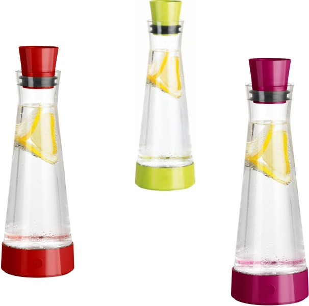 Glas-Kühlkaraffe für Kaltgetränke 1 Liter (Farbe wählen)