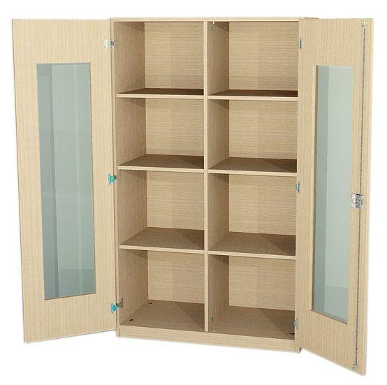 Schrank breit mit Glasausschnitttür und Mittelwand, 170 cm hoch (Maße wählen)