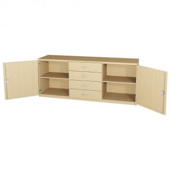 Anrichte mit 2 Türen und 4 Schubkästen, 82,5 cm hoch (Maße wählen)