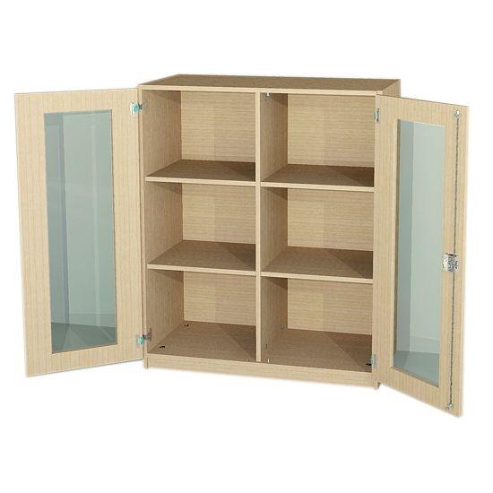 Unterschrank mit Glasausschnitttüren und Mittelwand, 120 cm hoch (Maße wählen)