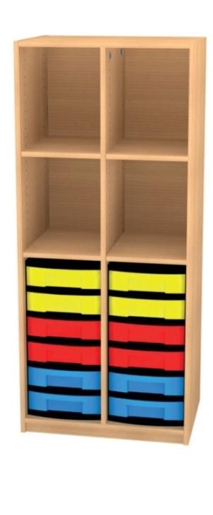 Regal mit Mittelwand und 12 flachen Schüben, B/H/T: 66 x 152 x 50 cm