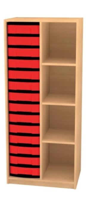 Regal mit Mittelwand und 14 flachen Schüben, B/H/T: 66 x 152 x 50 cm