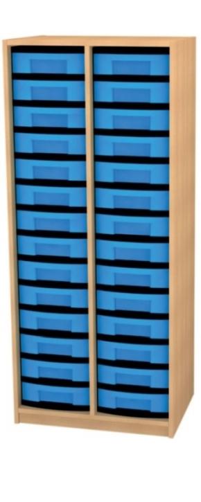 Regal mit Mittelwand und 28 flachen Schüben, B/H/T: 66 x 152 x 50 cm