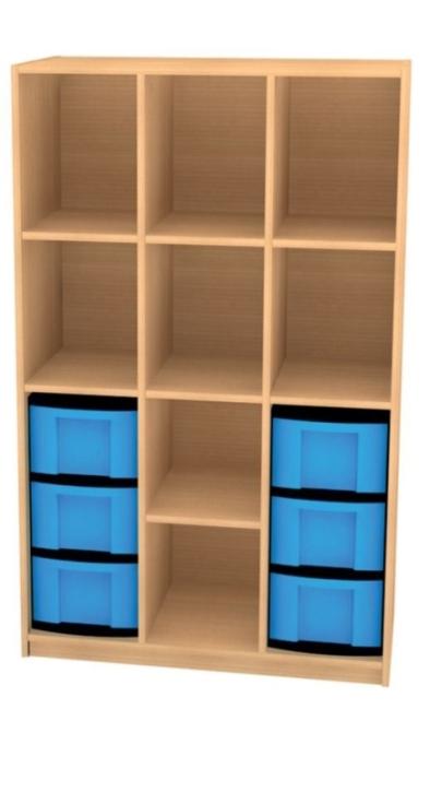 Breites Regal mit 6 Schüben, B/H/T: 98 x 152 x 50 cm