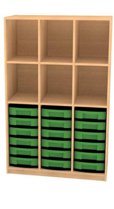 Breites Regal mit 18 Schüben, B/H/T: 98 x 152 x 50 cm