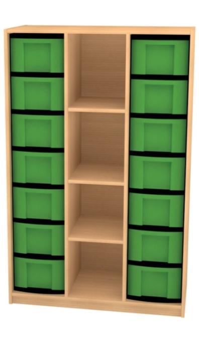 Breites Regal mit 14 Schüben, B/H/T: 98 x 152 x 50 cm